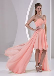 High-low Sweetheart Beaded Watermelon Chiffon Prom Gown Dress