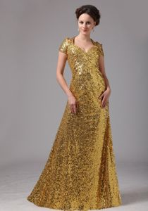 Sequined V-neck Prom Dress with Cap Sleeves in Gold in College Station