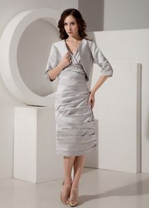 V-Neck Tea-length Taffeta Ruched Prom Gown Dress in Grey in Kerrville