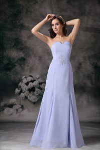 Lilac Strapless Floor-length Chiffon Beaded Formal Prom Dress in Garland