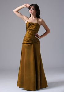 Halter Brown Ruched Floor-length Taffeta Dress for Prom in Carrollton