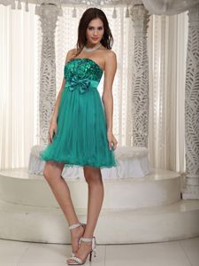 Strapless Short Sequined Prom Dress in Turquoise with Bowknot in Dallas