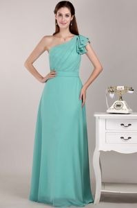 One Shoulder Floor-length Chiffon Ruched Prom Dress in Turquoise
