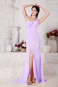 Lavender One Shoulder Hand Flowery Prom Gowns with High Slit in Houston