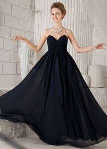 Black Sweetheart Floor-length Chiffon Ruched Formal Prom Dresses