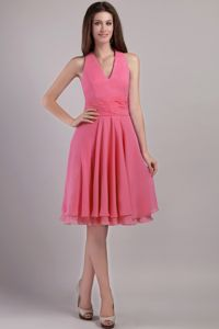 Watermelon Halter Top Knee-length Chiffon Prom Dresses in Galveston