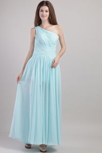 One Shoulder Ankle-length Chiffon Ruched Prom Dress in Blue in Galveston