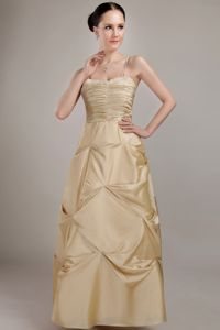 Champagne Ruched Beaded Prom Gowns with Spaghetti Straps in Denton