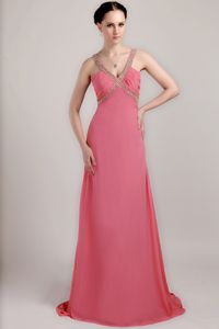 Red V-neck Chiffon Beaded Ruched Prom Dresses with Brush Train