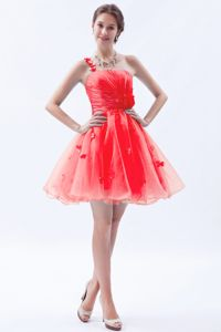 Red One Shoulder Mini-length Organza Prom Outfits with Appliques