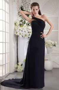 Black One Shoulder Chiffon Ruched Prom Dresses with Brush Train