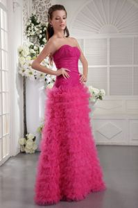 Sweetheart Floor-length Tulle Ruched Junior Prom Dress in Fuchsia