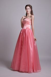Watermelon Sweetheart Floor-length Prom Dress with Beading in Denton