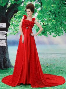 Red Flowery Informal Prom Dresses with Lace in College Station TX