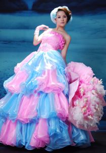 Pink and Aqua Blue Organza Strapless Prom Dress with Beading in Gladstone