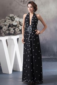 Beaded Black Halter Long Prom Gown Dresses with Plunging in Tamworth