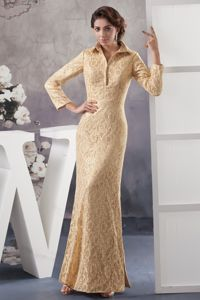Champagne Ankle-length Formal Prom Dresses with Long Sleeves in Penrith