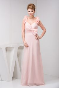 V-neck Pink Prom Gown Dress with Bowknot and Brush Train in Orange