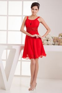 Knee-length Straps Red Ruched Semi-formal Prom Dresses in Liverpool