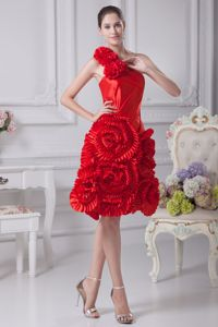 Hand Flowery One Shoulder Prom Dresses with Rolling Flowers in Grafton