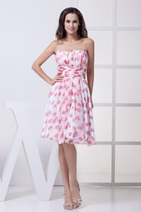 Ruched Pleated Knee-length Chiffon Prom Dresses with Printing in Albury