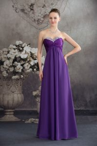 Beaded and Ruched Floor-length Purple Prom Dress in Strapless in Sydney