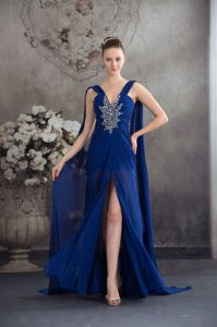 Elegant Watteau Train Slitted Royal Blue Prom Attire with Beading on Sale