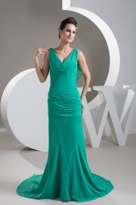 V-neck Brush Train Chiffon Turquoise Prom Outfits in North Las Vegas