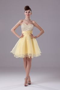 Latest Sequin Organza Light Yellow Puffy Short Prom Dress for Seniors