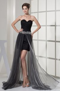 Hot Sweetheart High-low Black Prom Outfits with Rhinestones on Sale