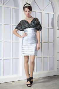 Taffeta Sequin Black and Silver Prom Dress with Puffy Short Sleeves in Reno NV