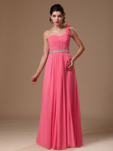 One Shoulder Rosettes Rose Pink Beading and Ruches Prom Dress