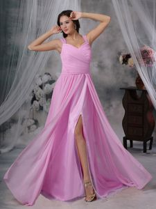 High Slit Cap Sleeves Floor Length Chiffon Ruched Prom Dress on Sale