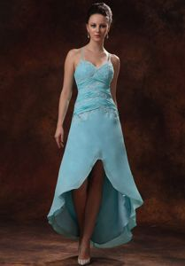 High-low Blue Semi-formal Dress with Beading Appliques Cross Back