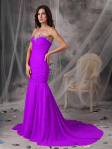 Court Train Mermaid Sweetheart Chiffon Ruched Prom Dress with Beading