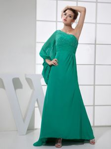 Green Chiffon Single Shoulder Prom Gown with Beads Brush Train