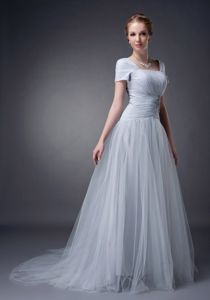 Fitted Brush Train Tulle Square Prom Dress with Ruche and Applique