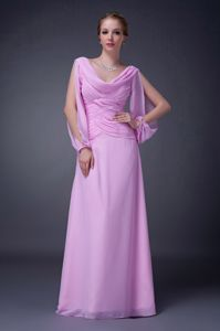 Lavender Draped Neckline Ruched Prom Dresses with Open Sleeves