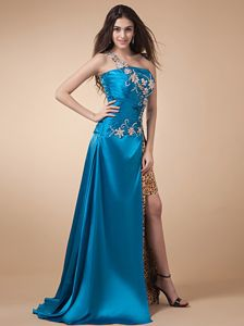 New Style Appliqued High Slit Junior Prom Dress with Leopard Print