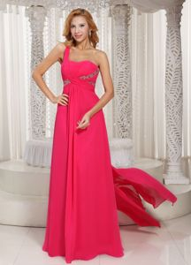 2014 Hot Pink Watteau Train Beading Prom Outfits with Side Zipper