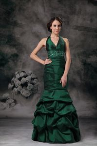Mermaid Style Halter Beaded Pick-ups Prom Gowns in Dark Green