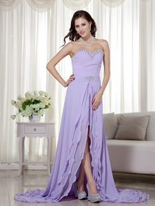 Lilac Detachable Beading High Slit Prom Dress in Alston Lake District