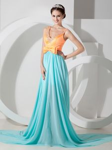 Custom Made Two-toned V-neck Beading Prom Dresses Sweep Train