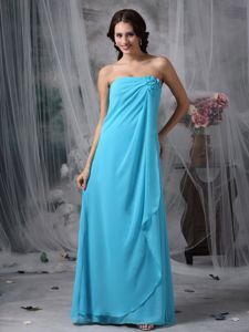 Strapless Baby Blue Long Junior Prom Dress in Loose Style for Homecoming Party