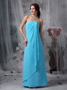2014 Trendy Simple Strapless Chiffon Prom Dress for Summer in Baby Blue