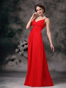 Traditional Spaghetti Straps Red Long Prom Dress for Summer about 100