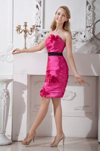 Zipper-up Hot Pink Short Prom Outfits with Floral Embellishment about 100
