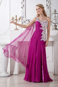 One Shoulder Appliqued Fuchsia Long Formal Prom Dress for Wholesale