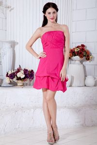 Custom Made Hot Pink Short Dress for Prom with Bowknot under 100