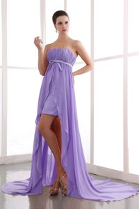 2013 Simple Style High-low Strapless Ruched Lilac Prom Dress for Summer